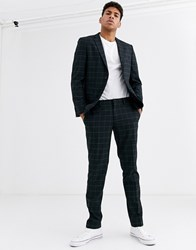 Esprit Slim Fit Suit Trouser In Navy Windowpane Check