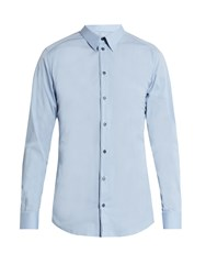 Dolce And Gabbana Gold Fit Single Cuff Stretch Cotton Shirt Light Blue