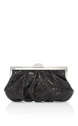 Judith Leiber Couture Natalie Crystal Embellished Satin Clutch Black