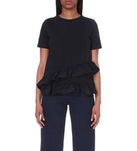 Warehouse Ruffled Cotton Jersey Top Navy