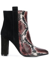 Via Roma 15 Snakeskin Effect Panelled Boots Black