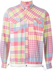 Sacai Elastic Waistband Checked Shirt Pink And Purple