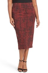 Melissa Mccarthy Seven7 Plus Size Women's Print Stretch Knit Pencil Skirt