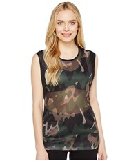 Monreal London Workout Top Moss Camouflage Women's Clothing Multi