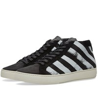 Off White Brushed Diagonals Mid Sneaker Black