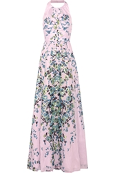 Lela Rose Floral Print Cotton Voile Gown