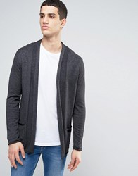 Casual Friday Fine Knit Cardigan With Pockets Dark Grey
