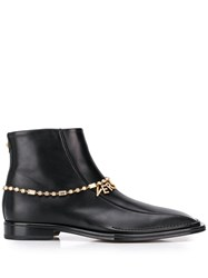 Versace Quentin Ankle Leather Boots Black