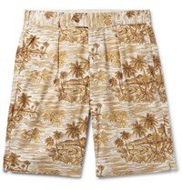 Engineered Garments Sunset Pleated Printed Cotton Shorts Beige