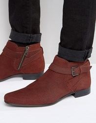 Asos Boots In Burgundy Suede Snake Effect With Strap Detail Burgundy Red