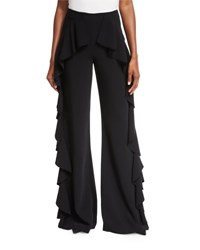 Cinq A Sept Saphir Ruffle Wide Leg Pants Black