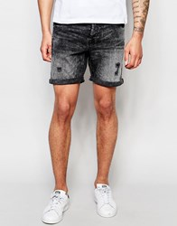 Only And Sons Washed Black Denim Shorts Black