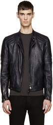 Diesel Black Gold Navy Leather Biker Jacket