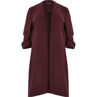 River Island Womens Plus Burgundy Ruched Sleeve Duster Jacket