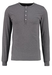 Knowledge Cotton Apparel Long Sleeved Top Dark Grey Melange Mottled Dark Grey