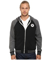 Converse Patch Hooded Baseball Jacket Black Men's Sweater