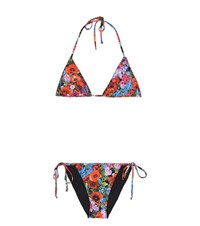 Dolce And Gabbana Floral Printed Triangle Bikini Multicoloured