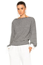 Chloe Cotton Micro Stripe Sweater In Black Stripes White Black Stripes White