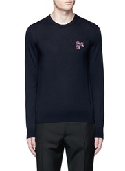 Lanvin Lotus Flower Embroidery Wool Sweater Blue