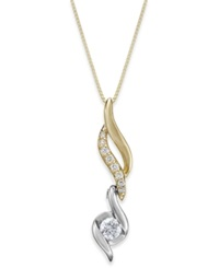 Sirena Diamond Spiral Pendant Pendant Necklace In Two Tone 14K Gold 1 5 Ct. T.W.
