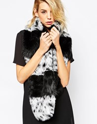 Urbancode Wide Striped Faux Fur Scarf Blackwhite