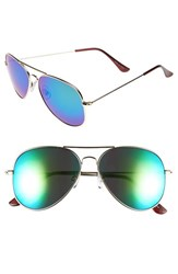 Junior Women's Bp. Mirrored Aviator 57Mm Sunglasses Blue Purple