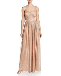 Laundry By Shelli Segal Crossover Front Metallic Pleated Gown Pink Gin