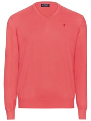 Hackett London Pima Cotton V Neck Jumper Coral