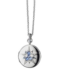 Monica Rich Kosann Round Silver Burst Locket With Sapphires And Crystal 30