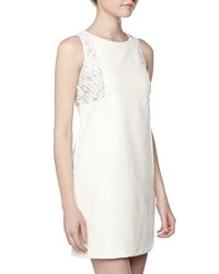 Neiman Marcus Floral Crochet Faux Leather Dress White
