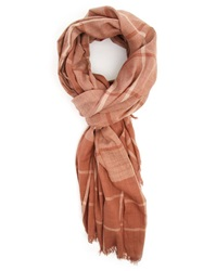 Menlook Label Large Brown Checked Scarf