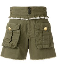 Dsquared2 Pleated Trim Cargo Shorts Green