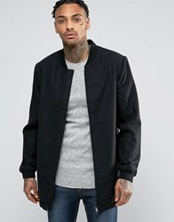D Struct Longline Wool Blend Bomber Black