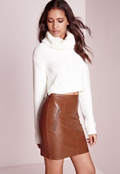 Missguided Zip Detail Faux Leather Mini Skirt Tan Brown