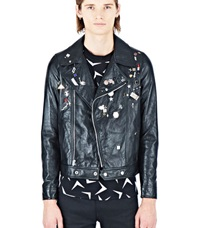 Saint Laurent Motorcycle Pin Jacket Black
