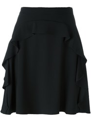 Carven Ruffled A Line Short Skirt Black