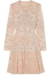 Needle And Thread Aurora Ruffled Sequin Embellished Tulle Mini Dress Beige