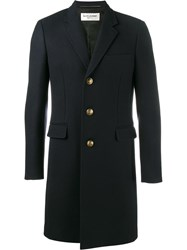 Saint Laurent Military Button Coat Blue