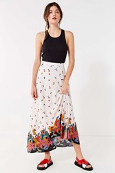 Urban Outfitters Uo Raine Floral Maxi Skirt Neutral Multi
