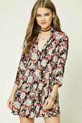 Forever 21 Floral Self Tie Flare Dress Black Coral