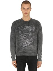 The Kooples Printed Cotton Jersey Sweatshirt Washed Black