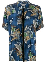 Night Market Beaded Hawaiian Shirt Blue