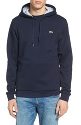 Lacoste Men's Sport Cotton Blend Hoodie Navy Blue Silver Chine