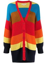 Chinti And Parker Striped Knit Cardigan Blue