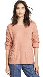 Moon River Patterned Crew Neck Sweater Dusty Pink