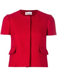 Red Valentino Shortsleeved Crop Jacket Women Cotton Polyester Acetate 44 Red