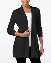 Karen Scott Petite Open Front Cardigan Only At Macy's Deep Black