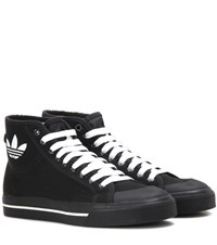 Raf Simons Matrix Spirit High Top Canvas Sneakers Black