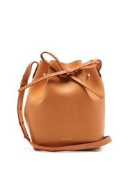 Mansur Gavriel Pink Lined Mini Leather Bucket Bag Brown Multi