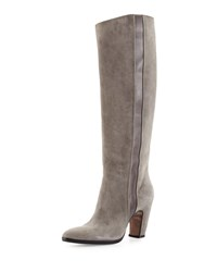 Cnc Costume National Suede Knee Boot Gray Grey